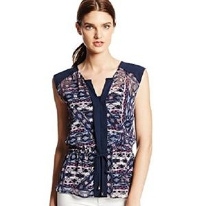 VINCE CAMUTO Tie Front Tribal Blouse w/Cami  M & L